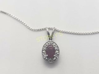 Silver Ruby 18 0 6ct  Necklace    140