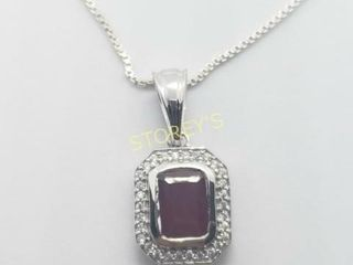 Silver Ruby 18 1 6ct  Necklace    160