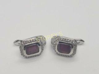 Silver Ruby 5 7G 3ct  Earrings    300