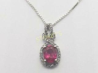 Silver Ruby 18  Diamond Necklace    440
