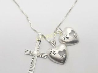 Silver 3 Pendent 18  Necklace    160