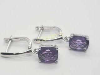 Silver Amethyst 4ct  Earrings    200