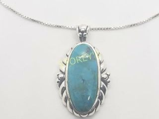 Silver Turquoise 18  Necklace    240