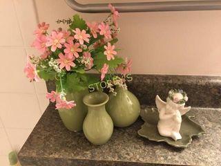3 Green Vases  Etc