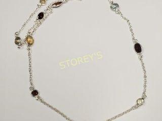 Silver Garnet Citrine Aquamarine Necklace