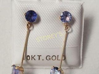 10K Tanzanite 1ct  Earrings