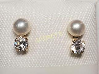 14K F W Pearl CZ Earrings