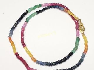 10K Sapphire Ruby Emerald 40ct  Necklace    1800