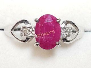 10K Burma Ruby Diamond Ring    1920