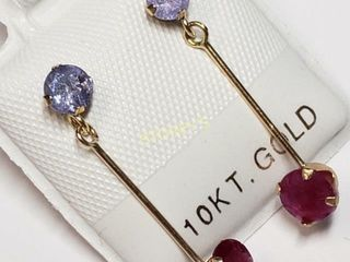 10K Tanzanite 0 55ct  Ruby 0 52ct  Earrings