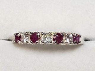 Silver Ruby CZ Ring