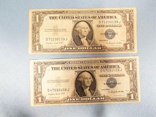 1 Silver Certificate Series 1935 G  Qty 2