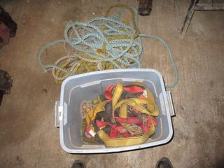 BlUE TOTE OF ROPES  HARNESSES