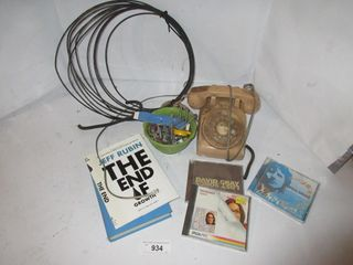lOT  BOOKS  CD S  ROTARY PHONE  MISC