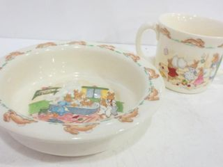 ROYAl DOUlTON  BUNNYKINS  CEREAl BOWl AND TWO