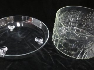 FOOTED GlASS PlATTER  11 5  10  SERVING BOWl