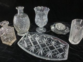 GlASSWARE   VASES  DECANTERS  NO STOPPERS  TRAY