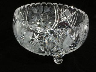 SAW TOOTH EDGE  FOOTED 7 5  CUT GlASS FRUIT BOWl