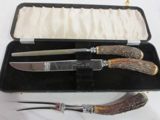 SHEFFIElD ENGlAND HORN CARVING SET IN CASE