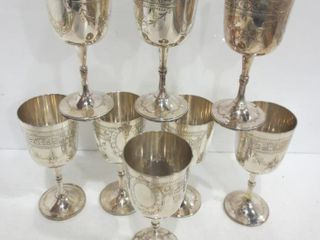 ETCHED SIlVER PlATE WINE GOBlETS  8