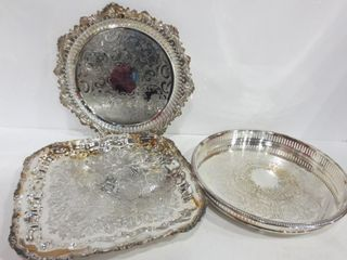 SIlVER PlATE TRAYS   ONE ROUND WITH GAllERY EDGE