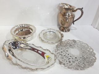 SIlVER PlATE WINE COASTERS  CANDY DISH  WATER JUG