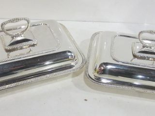 PAIR OF SIlVER PlATE DIVIDED SERVING DISHES WITH