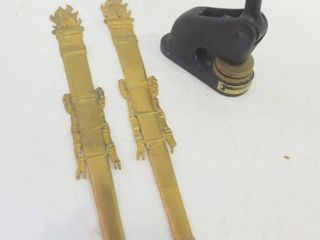 BRASS TORCH WAll PlAQUES  15 H  CAST IRON
