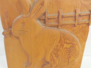 HARE  WOOD CARVING   SIGNED   11 X 12 H
