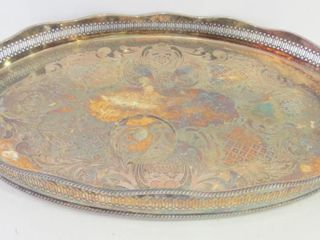 FOOTED 19 5  SIlVER PlATE TRAY WITH GAllERY EDGE