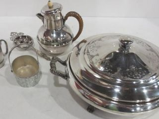 SIlVER PlATE lIDDED SERVER WITH PYREX INSERT