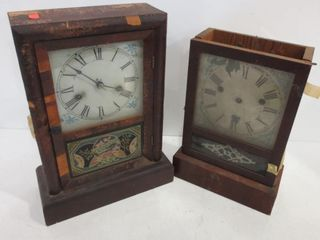 ANTIQUE NEW HAVEN ClOCKS   TOP MISSING ON ONE
