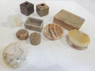 NATURAl STONE ONYX AlABASTER TRINKET BOXES