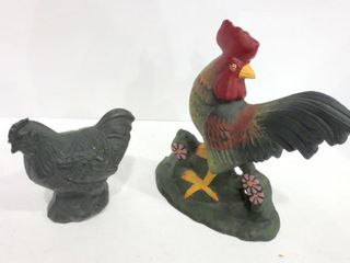CAST IRON ROOSTER DOORSTOP AND CAST IRON CHICKEN