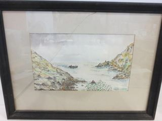 WATERCOlOUR   SIGNED   21 X 16 H   GlASS CRACKED