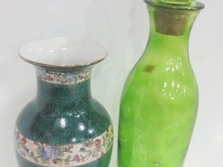 CERAMIC VASE  14 5  GREEN GlASS BOTTlE WITH TOP