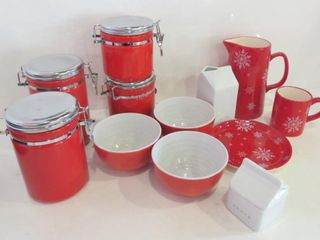 SET OF 4 RED STORAGE JARS  RED AND WHITE CERAMIC