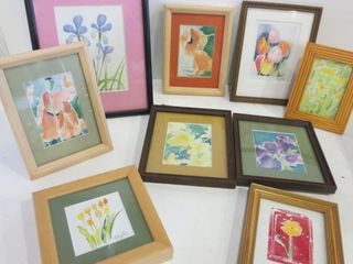 FlORAl WATERCOlOURS   SOME SIGNED BY lOCAl ARTISTS
