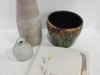 POTTERY VASES  5  12  7  PlANTER  CHEESE BOARD