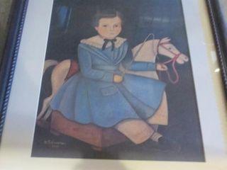 FRAMED IMAGE OF GIRl AND HORSE SIGNED N  SCHNEEMAN