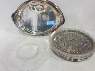 SIlVER PlATE SERVING PlATTER  SCRATCHED  GlASS