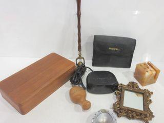 WOOD BOX  BUSHNEll BINOCUlARS  ClOCK RADIO