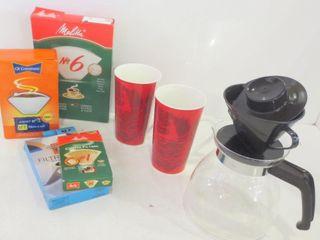 MElITTA DRIP COFFEE POT  COFFEE FIlTERS  PAIR OF