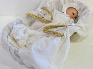 BABY DOll IN WICKER BASSINET   18 l