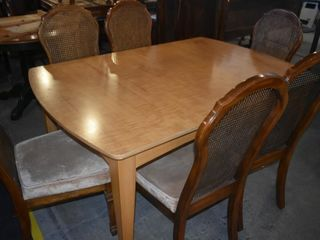 DINING TABlE W  6 CANE BACK CHAIRS