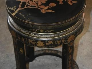 ASIAN INSPIRED STOOl W  PAINTED DESIGN