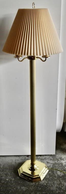 BRASS FlOOR lAMP W  SHADE