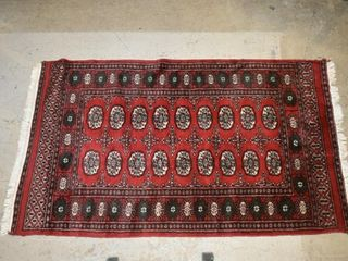 RED BOKHARA STYlE RUG  63  X 36