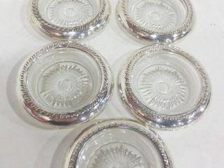 STERlING COASTERS WITH GlASS INSERTS  7