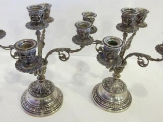 PAIR OF MIDDlE EASTERN SIlVER CANDElABRAS   11 H